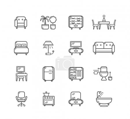 Illustration for Flat Line Icons Furniture for Mobile, Web And Applications . Vector illustration - Royalty Free Image