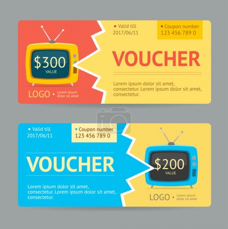 Illustration for Gift Voucher Template. The concept of winning. Vector illustration - Royalty Free Image