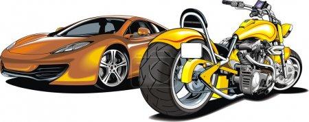 Illustration pour Ma voiture de sport de conception originale et moto isolée sur le fond blanc - image libre de droit