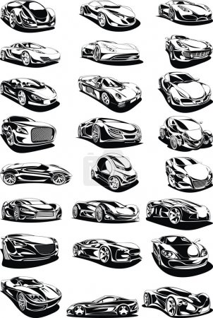 black and white car set