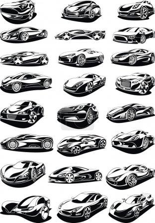 Illustration pour Ensemble de voiture noir et blanc isolé sur le fond blanc - image libre de droit