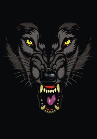 wild wolf in the dark