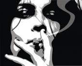 woman is smoking