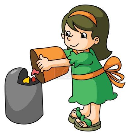 Girl throw the trash