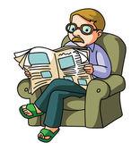 A man reading a newspaper  vector illustration