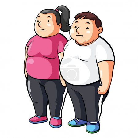 Illustration for Fat Couple together isolated on white background - Royalty Free Image