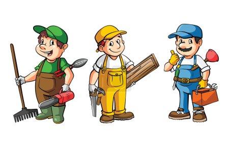 Illustration pour Ensemble de travailleurs : jardinier, charpentier et plombier isolé sur fond blanc - image libre de droit