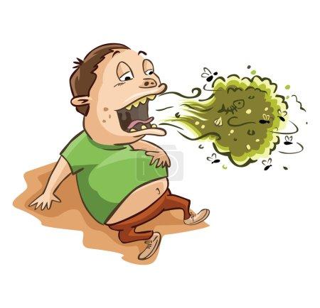 Illustration pour Homme mauvaise haleine et plein estomac illustration sur blanc - image libre de droit