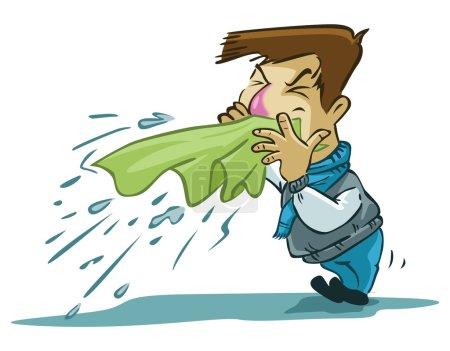 Sneezing man illustration