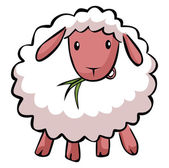 Funny cartoon sheep illustration on white