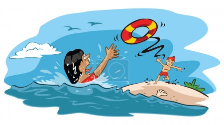 Illustration for Illustration of  Man try to save drowning woman isolated on white background - Royalty Free Image