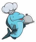 Fish cartoon illustration for restaurant