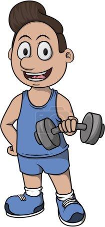 Body building cartoon illustration