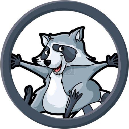 Skunk circle banner illustration