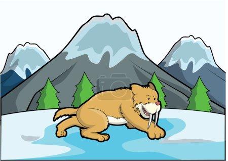 Illustration for Sabertooth ice mountain scene - Royalty Free Image