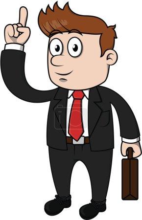 Illustration pour Homme d'affaires pointant et illustration de dessin animé vectoriel heureux - image libre de droit