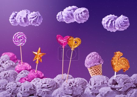 sweet landscape of ice cream and candy
