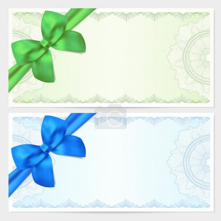 Voucher, Gift certificate, Coupon, ticket template. Guilloche pattern (watermark, spirograph) with bow (ribbon). Green, blue backgrounds for banknote, money design, currency, bank note, check (cheque)