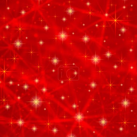 Illustration for Abstract red background with sparkling twinkling stars. Cosmic shiny galaxy (atmosphere). Holiday blank backdrop texture for Christmas (Xmas), Happy New Year with glow milky way elements (fantasy sky) - Royalty Free Image
