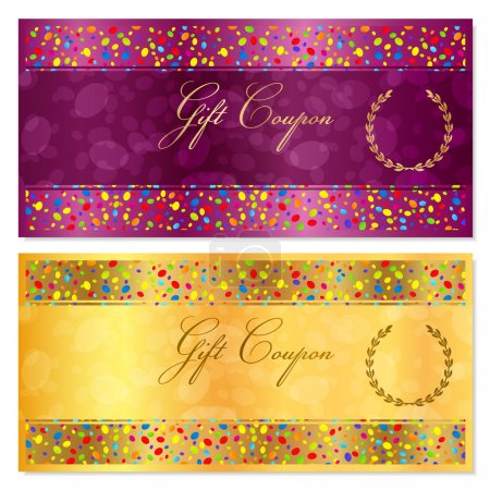 Gift certificate, Coupon, Voucher, Reward or Gift card template with bright confetti (colorful particles, circles). Gold background design for gift banknote, check, gift money bonus, flyer, banner
