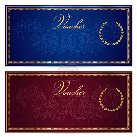Voucher, Gift certificate, Coupon, Gift money bonus or Gift card template with scroll pattern (border, frame). Background for reward design, invitation, ticket, banknote, currency, check (cheque)