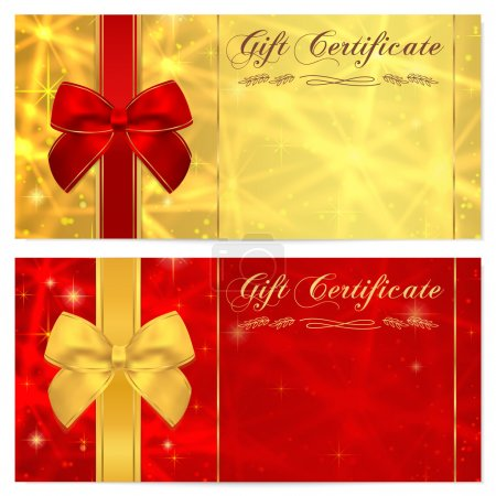Gift certificate, Voucher, Coupon, Invitation or Gift card template with sparkling, twinkling stars (texture) and bow (ribbon). Red, gold background design forbanknote, check, money bonus, banner, flyer