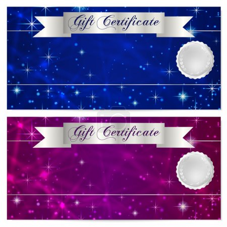 Gift certificate, Voucher, Coupon, Reward or Gift card template with sparkling, twinkling stars texture, ribbon. Dark blue background design for banknote, check, money bonus, flyer, banner