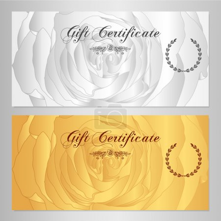 Gift certificate, Voucher, Coupon, Reward / Floral card template with rose (flowers pattern). Feminine background design set for gift banknote, check, money bonus, ticket, flyer, gold banner