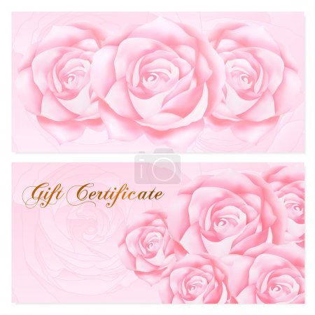 Gift certificate, Voucher, Coupon, Reward  card template with rose (flowers pattern). Set of  floral feminine background design for gift banknote, check, money bonus, ticket, flyer, banner