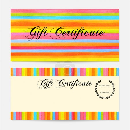 Gift certificate, Voucher, Coupon, money bonus, card template with colorful stripy (stripes, line pattern) background. Vector watercolor with rainbow texture for reward design, ticket, check