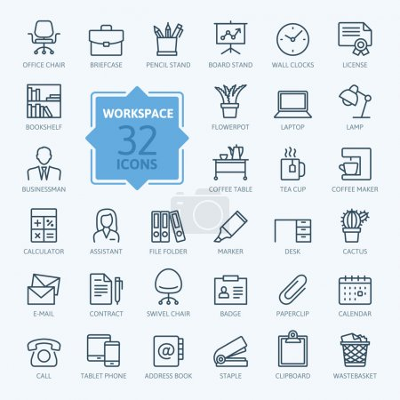 Illustration for Outline web icon set - office workspace - Royalty Free Image