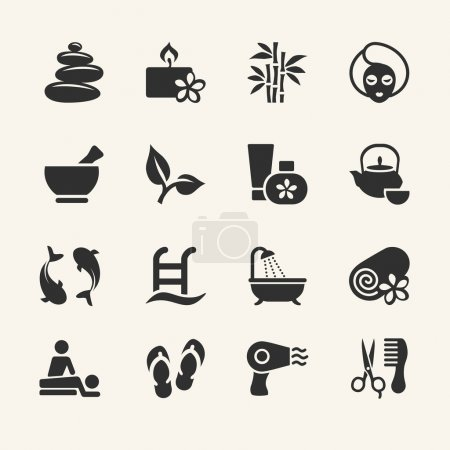 Illustration for Spa icons wcollection, stock vector - Royalty Free Image