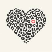 Vector heart shape - Leopard texture with kiss print