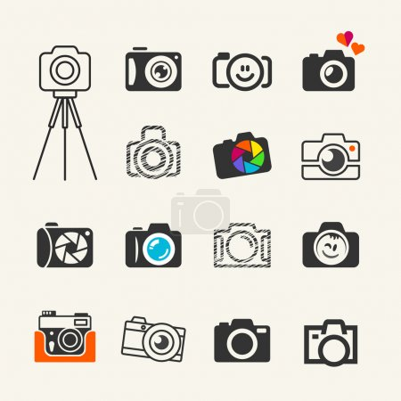 Illustration for Photo camera icon collection for web and infographics - Royalty Free Image