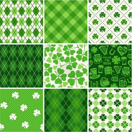 Illustration pour Ensemble de motifs sans couture Saint-Patrick - image libre de droit