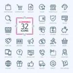 E-commerce, online shopping. Outline web icons set...