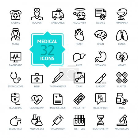 Illustration for Outline web icon set - Medicine and Health symbols - Royalty Free Image
