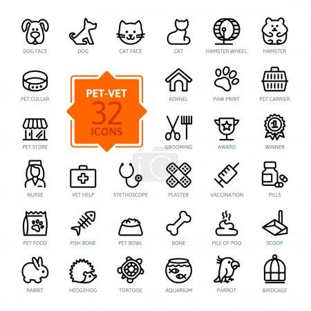 Illustration pour Ensemble d'icônes Web - animal de compagnie, vétérinaire, animalerie, types d'animaux de compagnie - image libre de droit
