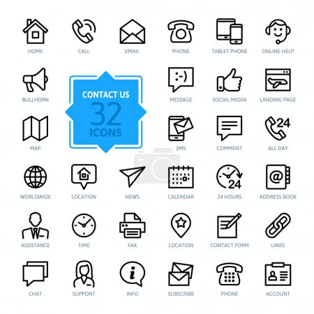 Illustration for Outline web icons set - Contact us - Royalty Free Image