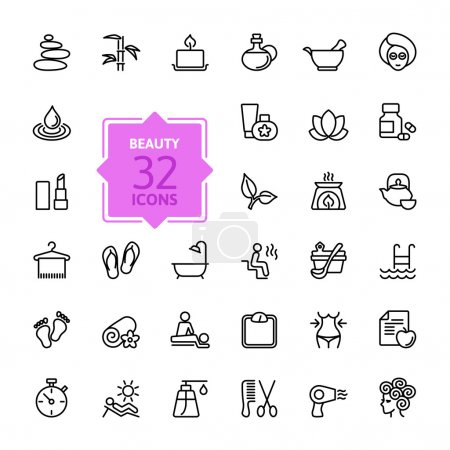 Illustration for Outline web icon set - Spa & Beauty - Royalty Free Image