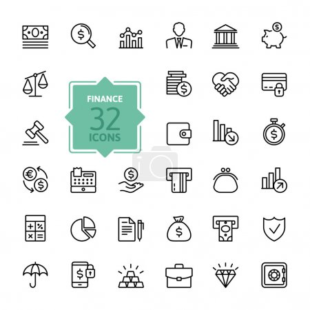 Outline web icons - money, finance, payments