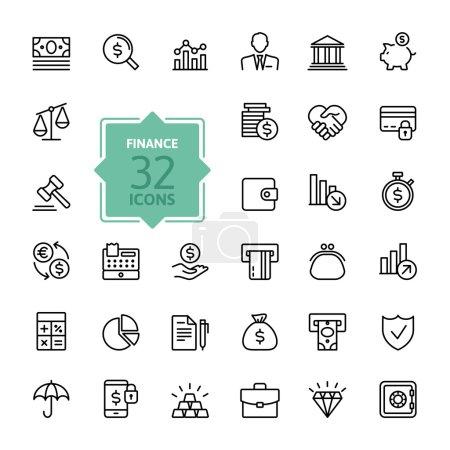 Illustration pour Minces lignes jeu d'icônes tendance - argent, finances, paiements, isolé sur blanc - image libre de droit
