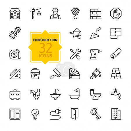 Illustration for Outline web icons set - construction, home repair tools - Royalty Free Image