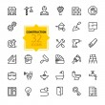Outline web icons set - construction, home repair ...