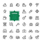 Outline web icon set - summer camping outdoor travel