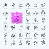 Tenké čáry webových sada ikon - lázně  krása