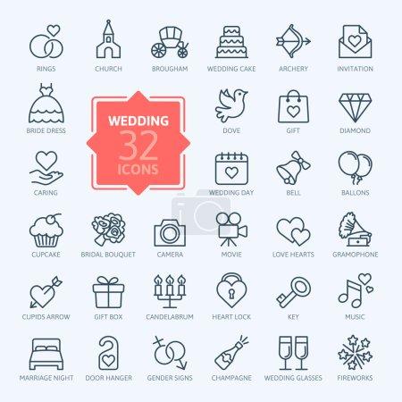 Illustration pour Lignes minces web icône scollection - mariage - image libre de droit