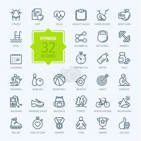 Illustration for Outline web icon set - sport and fitness - Royalty Free Image