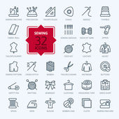 Thin lines web icon set - sewing equipment and needlework