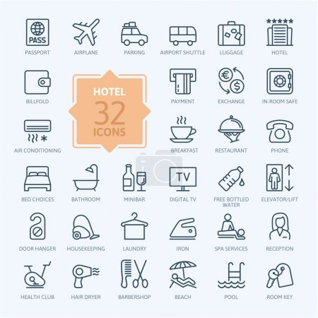Illustration for Outline web icon set - Hotel services - Royalty Free Image